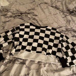 Checkerboard crop sweater